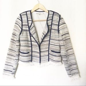 Lovers + Friends Tweed Blazer Frayed Jacket Sz S